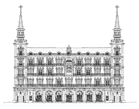 mayor: Madrid, house of Phillip III in Plaza Mayor, Sketch collection Stock Photo