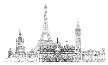 Sketch collection of famous buildings: Eiffel tower, St. Marco in Venice, big Ben in London, Stalin tower is moscow photo