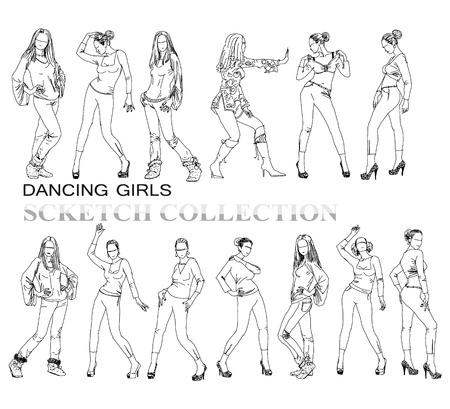 jeune fille adolescente nue: Danse girls silhouettes, collection croquis