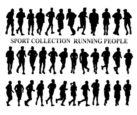 black woman white man: Silhouettes of running people. Sport and healthy life style concept Stock Photo