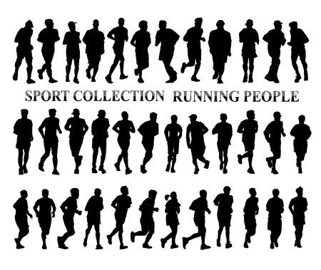 hombre fuerte: Siluetas de personas corriendo. El deporte y el concepto de estilo de vida saludable