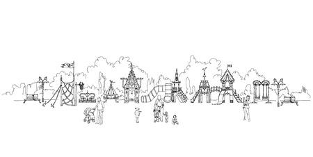 aria: Kids playground in residential aria illustration