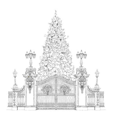 front gate: Christmas tree in front of Buckingham palace gate London, sketch collection