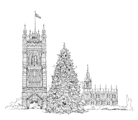 houses of parliament london: Christmas tree in London in front of Parliament tower, sketch Stock Photo