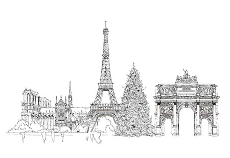 sacred heart: Christmas tree in Paris, sketch collection