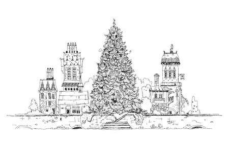 britannia: Christmas tree in city, sketch collection Stock Photo