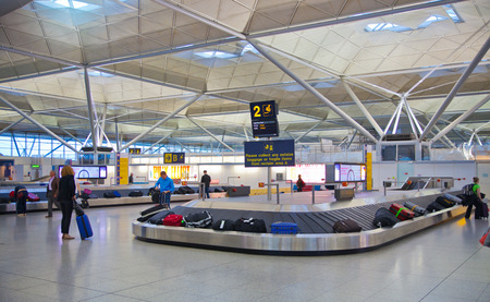 LONDON, UK - MAY 28, 2014: Stansted airport, luggage waiting area