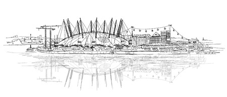 millennium: arena in London, Millennium dome. Main stage for show and performances. Sketch collection Stock Photo