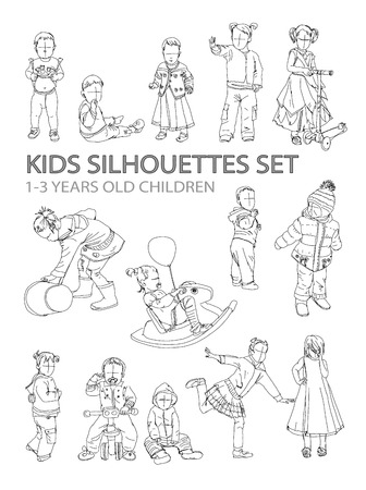 recreational climbing: Little kids silhouettes, sketch collection