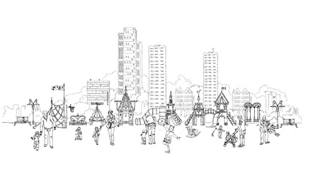 sketch child: Kids playground in residential aria illustration