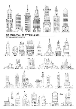 canary wharf: City buildings, set. Sketch collection Stock Photo