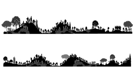 People walking on hills, mountains. Tourists on nature. Peoples silhouettes photo