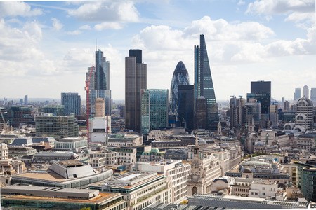 LONDON, UK - AUGUST 9, 2014 London view. City of London one of the leading centres of global finance this view includes Tower 42, Lloyeds bank, Gherkin, Walkie Talkie building and other