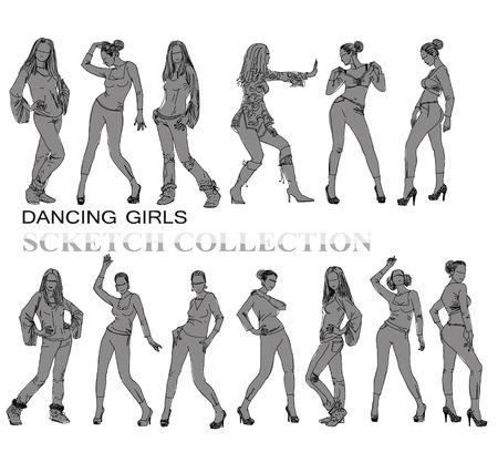 jeune fille adolescente nue: Danse des silhouettes de filles