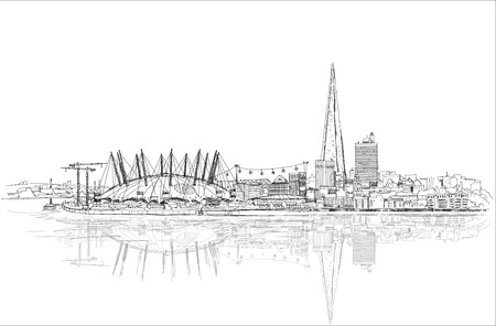 thames: London sketch illustration with Shard of glass and river Thames
