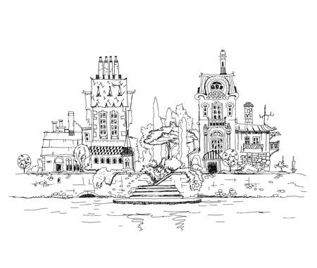 City on the river, sketch illustration