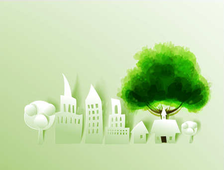 City and tree, abstract paper background photo