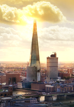 shard of glass: London sunset. Shard Editorial