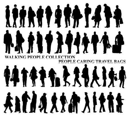 people standing: Silhouettes of walking people, caring bags, talking on the phone etc