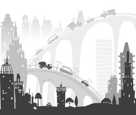 traffic building: City roads and motorways with lots of traffic. Commuting time illustration