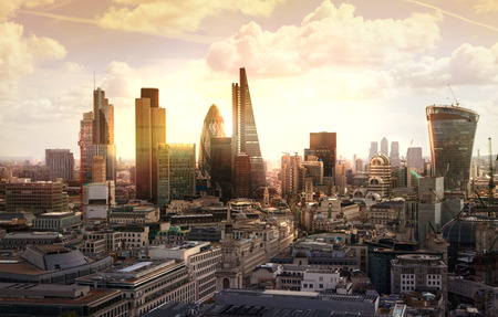 finance: London sunset. View on business modern district