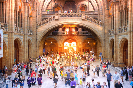 exhibition crowd: LONDON, UK - AUGUST 11, 2014: Interior view of Natural History Museum with lots of visitors. Main entrance. The museums collections comprise almost 70 million specimens from all parts of the world.
