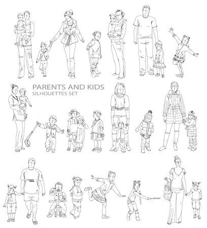 Kids sketch silhouettes photo
