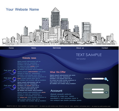 web pages: Web page template with capital illustration