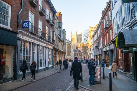 university fountain: CAMBRIDGE, UK - JANUARY 18, 2015: Trinity street with college view