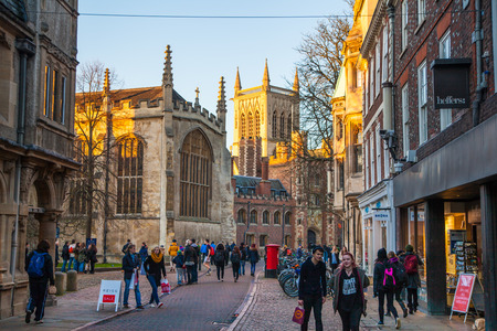 trinity: CAMBRIDGE, UK - JANUARY 18, 2015: Trinity street with college view