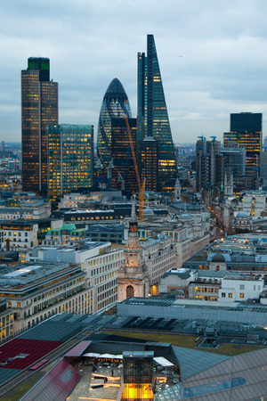 lloyd's of london: LONDON, UK - JANUARY 27, 2015: City of London, business and banking aria. Londons panorama in sun set. View from the St. Paul cathedral
