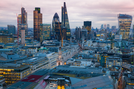 london landmark: LONDON, UK - JANUARY 27, 2015: City of London, business and banking aria. Londons panorama in sun set. View from the St. Paul cathedral