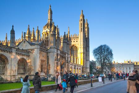 캠브리지, 영국 - 2015년 1월 18일 : (헨리 VI에 의해 1446 년에 시작) 국왕의 대학. 역사적인 건물