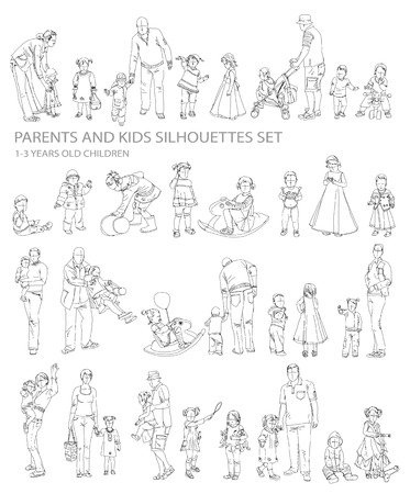 Parents and child silhouettes, sketch collection photo