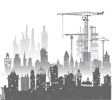 building site: Building site with cranes. Stock Photo