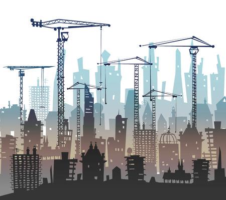 construction crane: Building site with cranes. Stock Photo