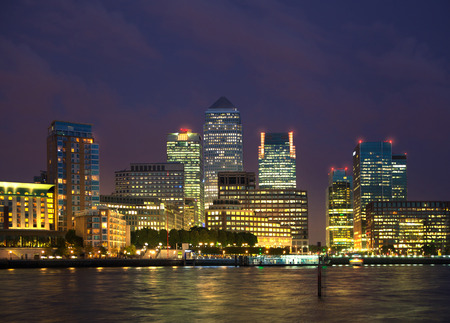 LONDON, UK - OCTOBER 17, 2014: Canary Wharf night view