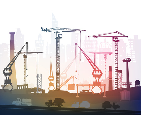 steelworks: Building site with cranes. City background