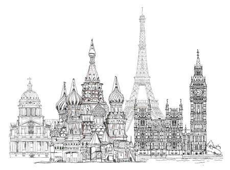 World famous monuments. Paris, London, Moscow