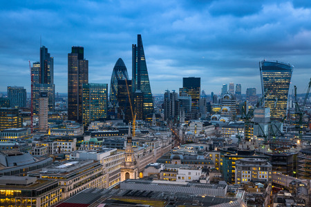 shard of glass: LONDON, UK - JANUARY 27, 2015: City of London, business and banking aria. Londons panorama in sun set. View from the St. Paul cathedral