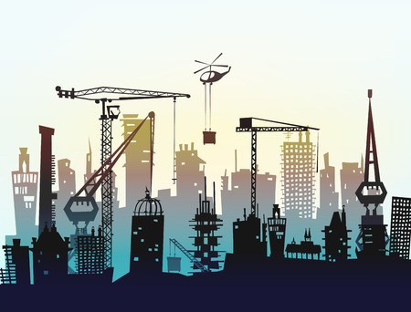 building site: Building site with cranes. City background