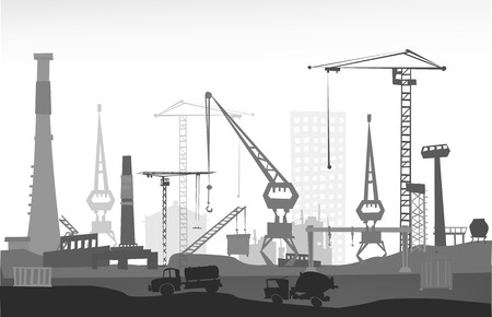 Industrial site view with cranes. Heavy industry background