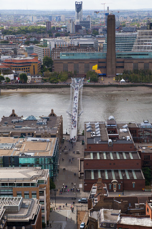 LONDON, UK - AUGUST 9, 2014. Londons panorama view from St. Paul cathedral.