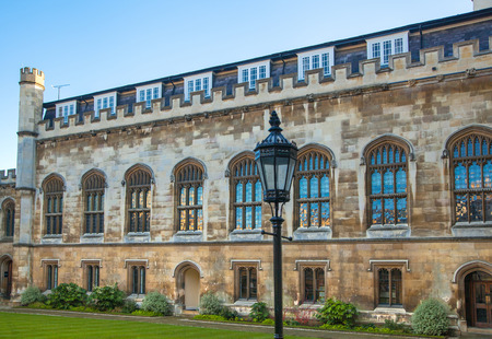 university fountain: CAMBRIDGE, UK - JANUARY 18, 2015: Clare college inner yard view