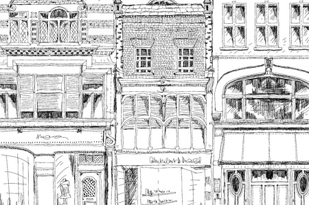 shop floor: Old English town house with small shop or business on ground floor. Sketch collection Stock Photo