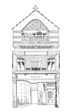 bond street: Old English town house with small shop or business on ground floor. Sketch collection Stock Photo
