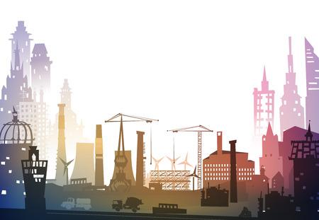 Industriële site bekijken met kranen. Zware industrie achtergrond Stockfoto