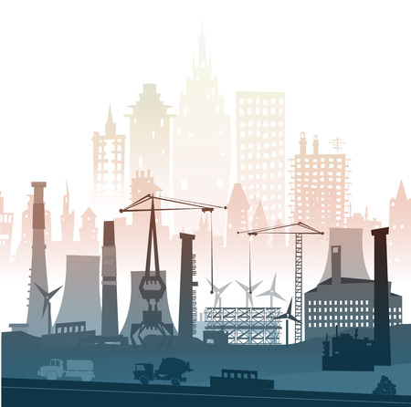 industry background: Industrial site view with cranes. Heavy industry background