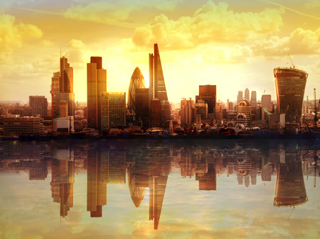 capital cities: London sunset. View on business modern district