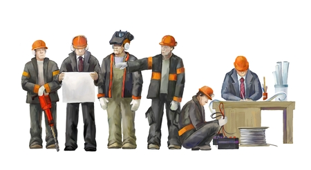 deputy: Jack hummer worker, welder, project manager, electrician, architect and deputy director. Builders working on construction works illustration Stock Photo